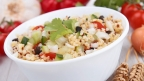 Warm Quinoa Salad with Olives, Tomatoes and Mint